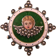 Antique Victorian Angel Cherub Brooch Pendant with Enamel and Seed Pearls in Gold-Washed Sterling Silver
