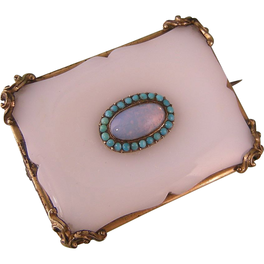 Antique Sash Pin Brooch in White Glass with Faux Opal and Turquoise Stones