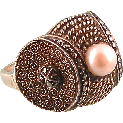 Signed Theodor Fahrner TF Sterling Germany Ring with Cultured Pearl and Marcasites, Superb Design