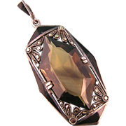 Signed Theodor Fahrner TF Pendant, Smoky Quartz, Black Enamel, and Marcasites, in 935 Silver