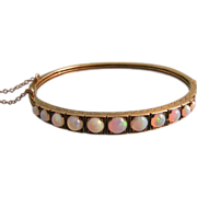 Exquisite Antique Victorian Opals Bangle Bracelet in 14K Gold