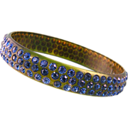Art Deco Celluloid Rhinestone Bangle Bracelet, Brilliant Blue