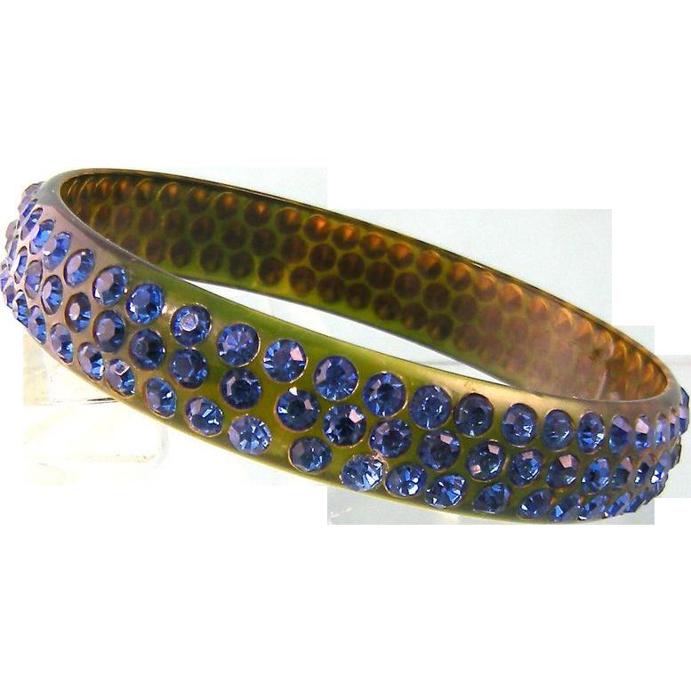Art Deco Celluloid Rhinestone Bangle Bracelet, Brilliant Blue