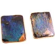 Vintage Black Opal Earrings in 9k and 14k Gold, for Pierced Ears