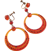 Art Deco Celluloid Earrings, Amber with Sparkling Red Rhinestones, 2-1/4""