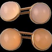 Art Deco Natural Chalcedony Cufflinks, Double Stones