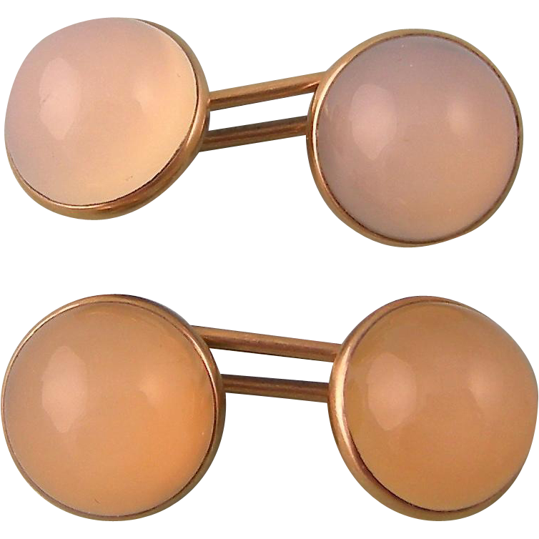 Art Deco Natural Chalcedony Cufflinks, Double Stones
