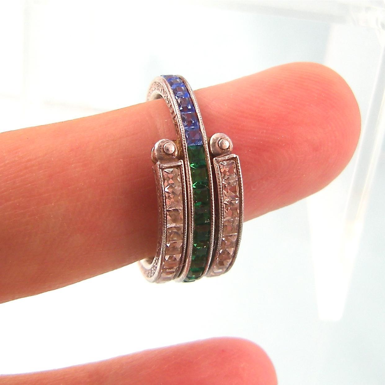 Silver Deco Flip Ring Emerald Sapphire Ruby