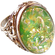 Art Deco Art Glass Ring with Sterling Silver Filigree