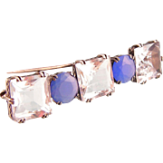 Art Deco Rock Crystal and Blue Chalcedony Brooch in Sterling Silver, Five Stones