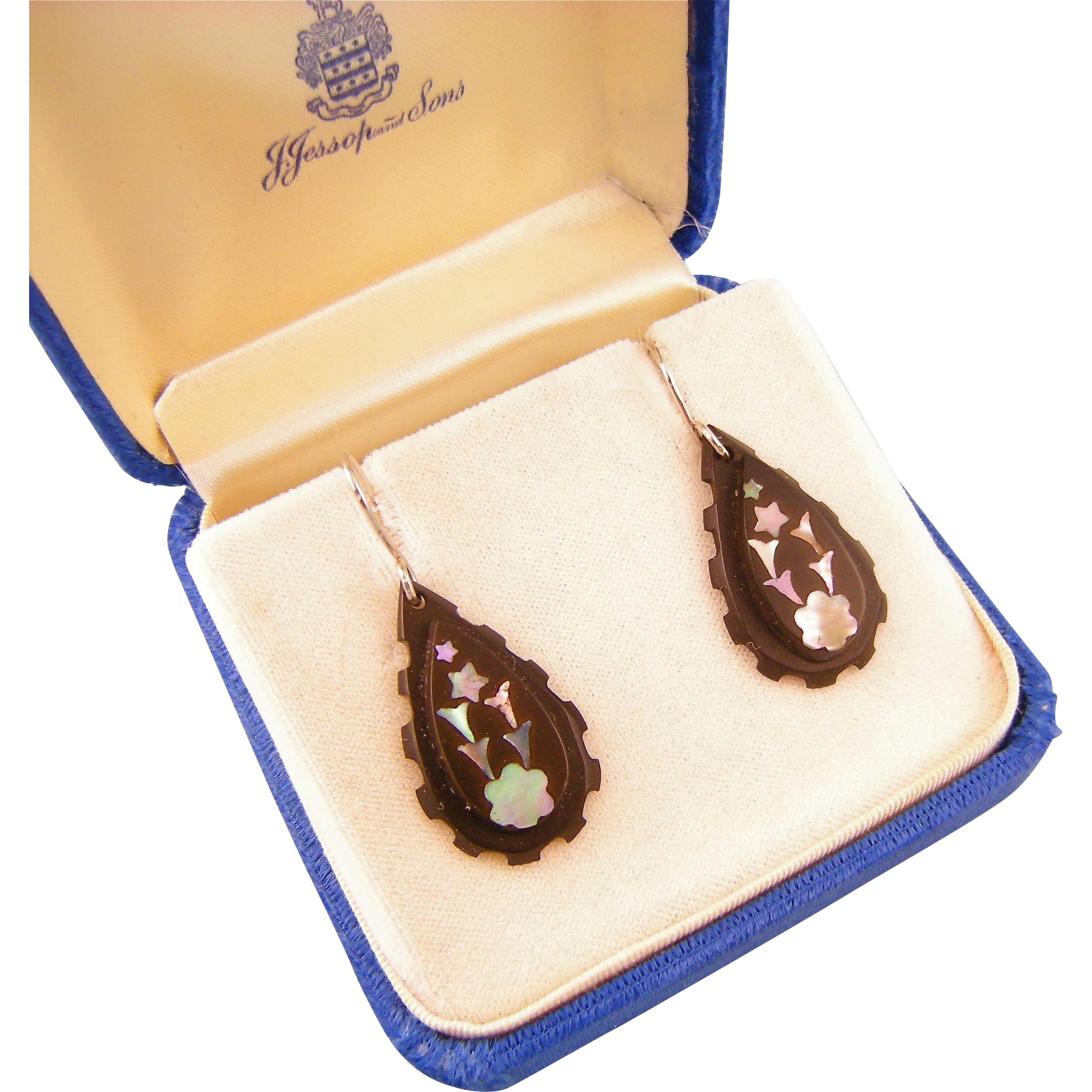 Antique Victorian Pique Earrings with Mother of Pearl