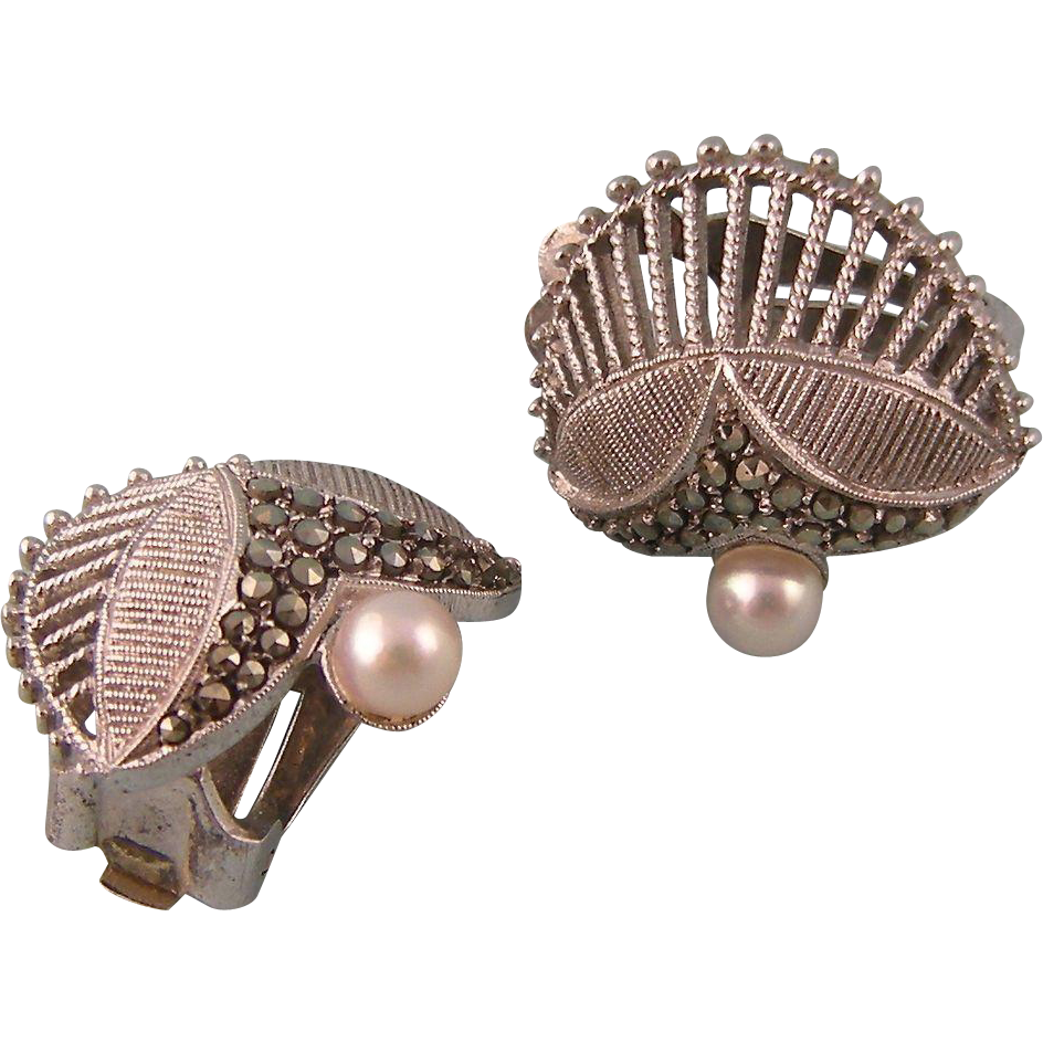 Vintage Art Deco Clip Back Earrings by Theodor Fahrner in Sterling, with Cultured Pearls and Marcasites