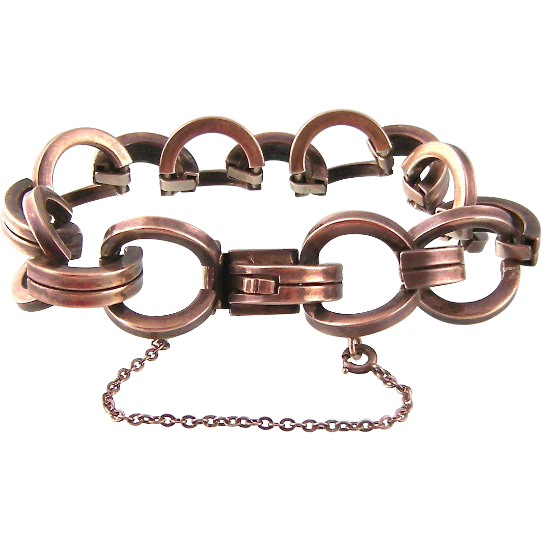 Art Deco Heavy Link Unisex Bracelet, Sterling Germany