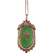 Antique Chrysoprase Pendant with Seed Pearls and Marcasites, Sterling, Germany