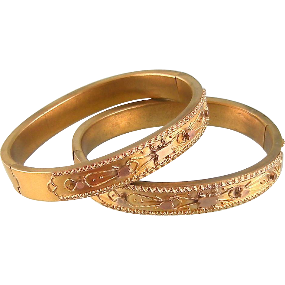 Antique Victorian Bangle Bracelets, Matching Pair, Excellent Condition