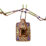 Art Deco Smoky Quartz and Enamel Pendant by Theodor Fahrner with Matching, Attached Chain