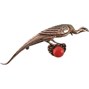 Art Deco Bird Brooch Pin by Theodor Fahrner, 935 Silver with Natural Coral