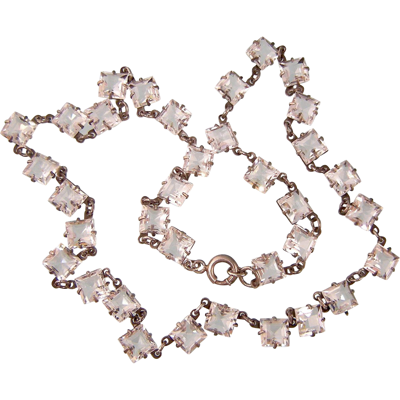 Art Deco Crystal Chicklets Necklace in Sterling Silver, Sparkling!