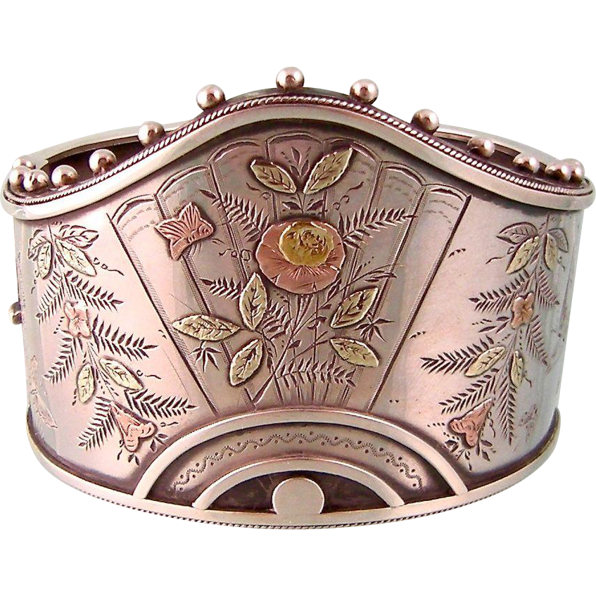 Antique Victorian Cuff Bangle Bracelet with Ornate Details in Sterling Silver, Pink and Green Gold Decorations