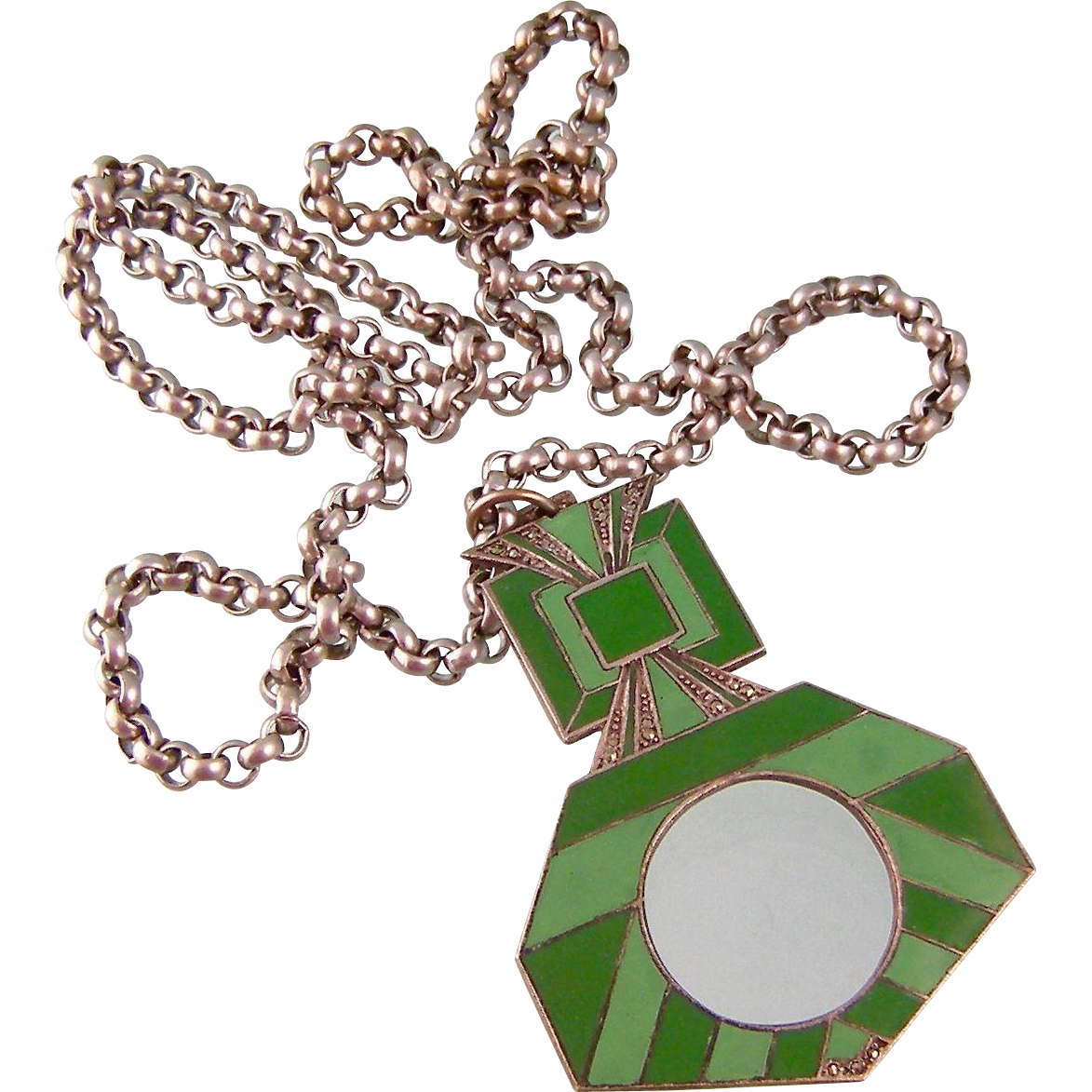 Art Deco Necklace, German Enameled Pendant with Heavy  Chain