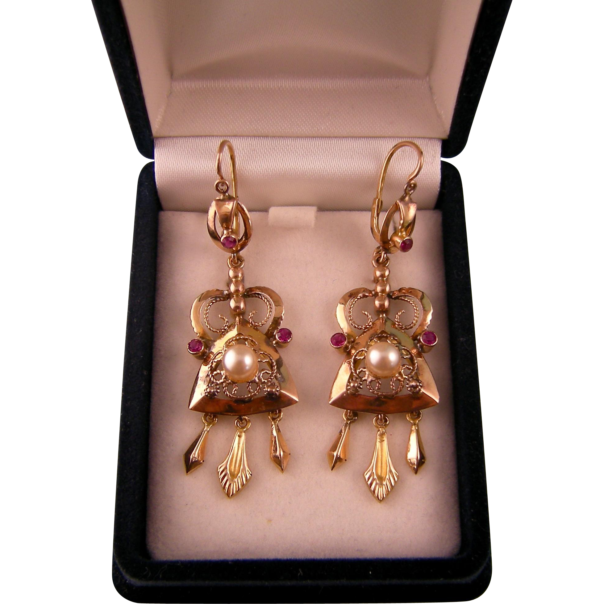 Antique Victorian Ornate Earrings, 14K, with Cultured Pearls, Ruby Stones, and Dangles, 2-1/4""