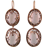 Art Deco Earrings with Double Moonstones, Sterling Silver and 9K Gold