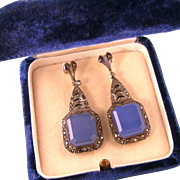 Art Deco Blue Chalcedony Earrings with Marcasites, Sterling Germany, Post Backs for Pierced Ears