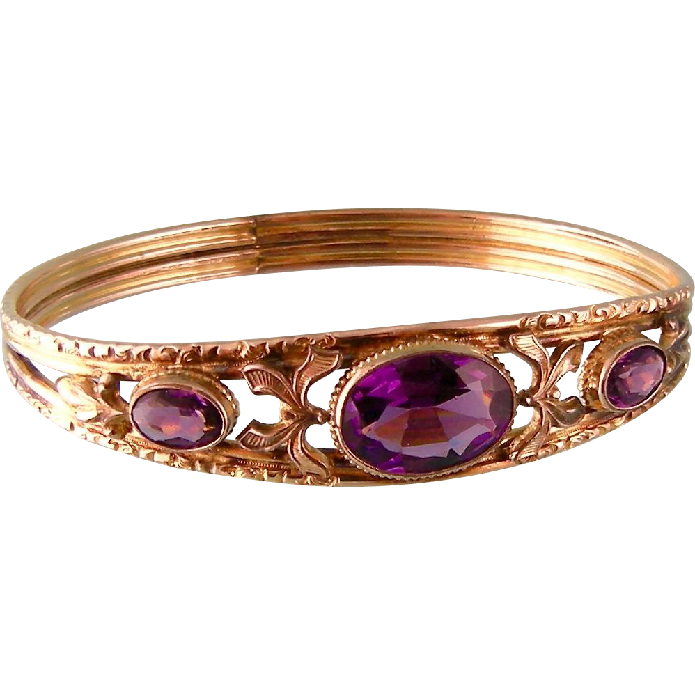 Antique Bangle Bracelet with Amethyst Glass Stones