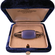 Art Deco Blue Chalcedony Brooch with Marcasites, 935 Silver