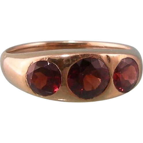 Antique Victorian 10K Yellow Gold Ring with Three Dazzling Garnets, Size 9