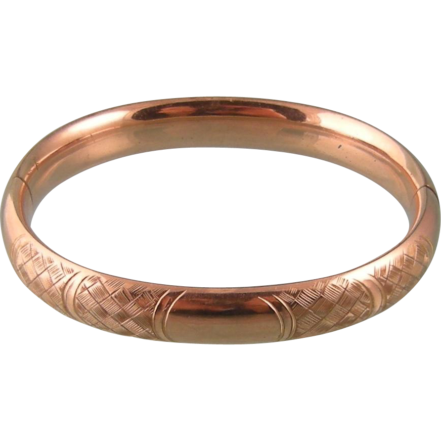 Antique Bangle Bracelet with Ornate Woven Engraving, Large Wrist, For Monogram