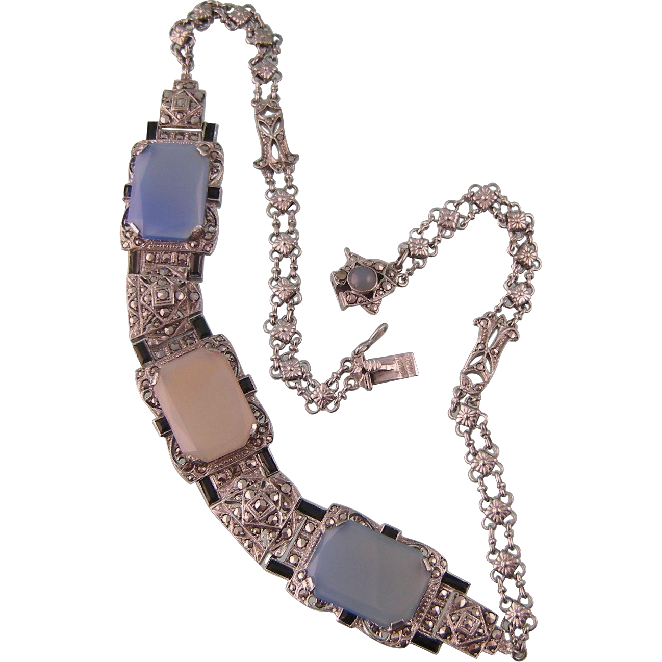 At Deco Blue Chalcedony Necklace with Marcasites and Onyx, Sterling, Germany, Remarkable Artistry
