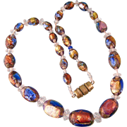 Vibrant Vintage Venetian Foiled Bead Necklace with Rock Crystal Spacers