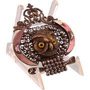 Antique Victorian Owl's Head Buckle, Cut Steel and Mother of Pearl, for Pendant or Brooch