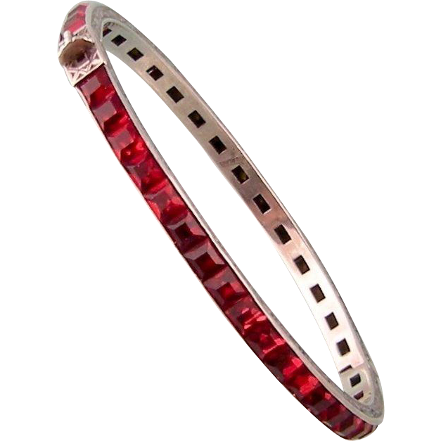 Art Deco Garnet Red Paste Bangle, Sterling Silver