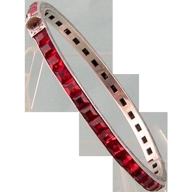 Art Deco Garnet Red Paste Bangle, Sterling Silver