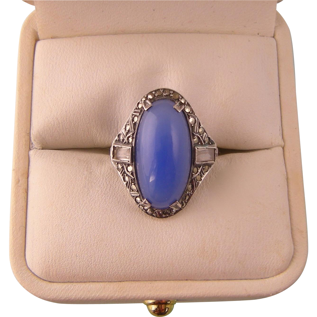 Art Deco Ring with Blue Chalcedony Glass, Baguettes, and Marcasites, Sterling, Germany