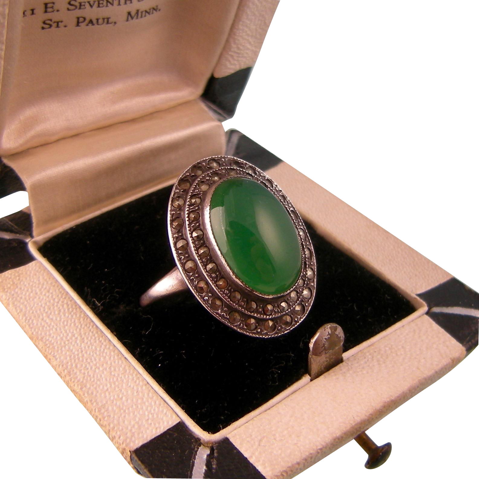 Art Deco Chrysoprase and Marcasite Ring, Sterling Silver, c1930