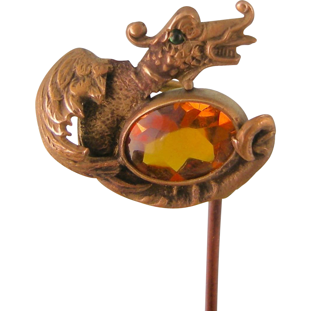 Antique Art Nouveau Stick Pin with Dragon Creature and Amber Glass Stone, George Steere