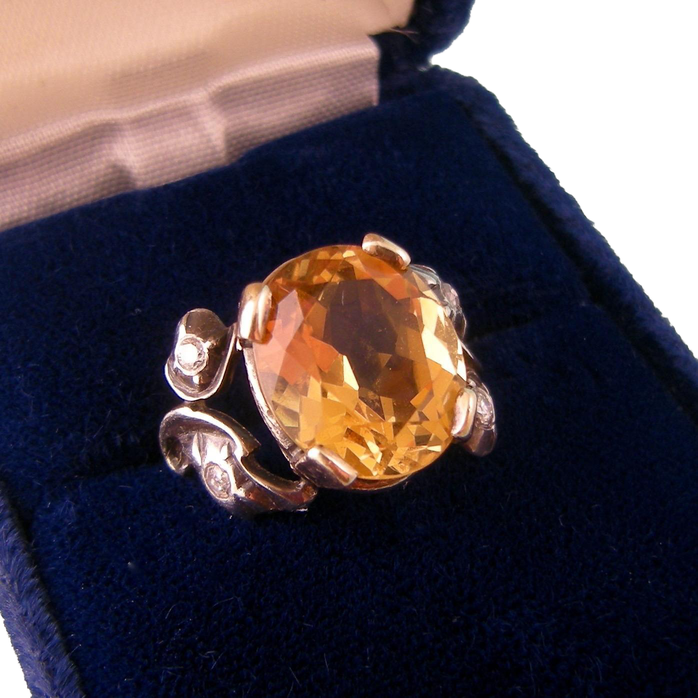 Antique Art Nouveau Ring with Large, Brilliant Citrine and Four Diamonds in Sterling Silver and 12K Gold