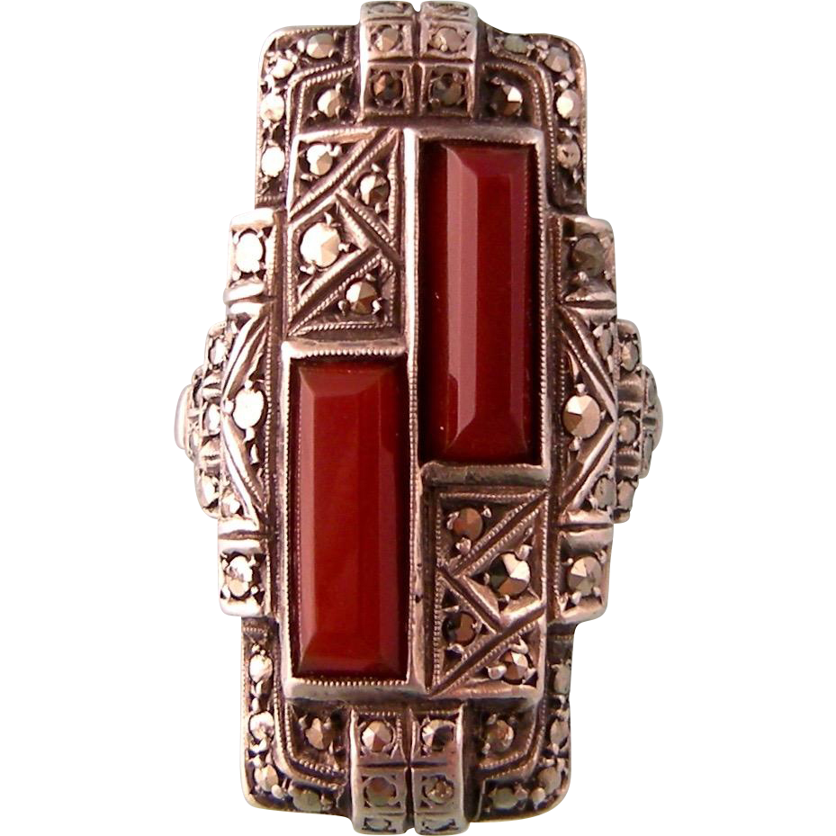 Art Deco Carnelian and Marcasite Tall Ring, Sterling, Germany