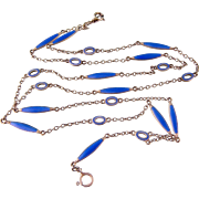 Superb Antique Blue Enameled Link Chain, Sterling, Germany