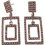Vintage Art Deco Style Earrings with Glittering Marcasites