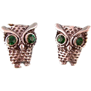 Tiny Vintage Owl Earrings in Sterling Silver with Green Rhinestones