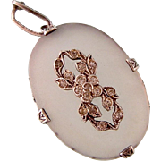 Antique Edwardian Camphor Glass Pendant with Bright Pastes in Sterling Silver