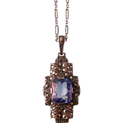 Art Deco Blue Spinel Pendant Necklace with Marcasites, Uncas, Sterling
