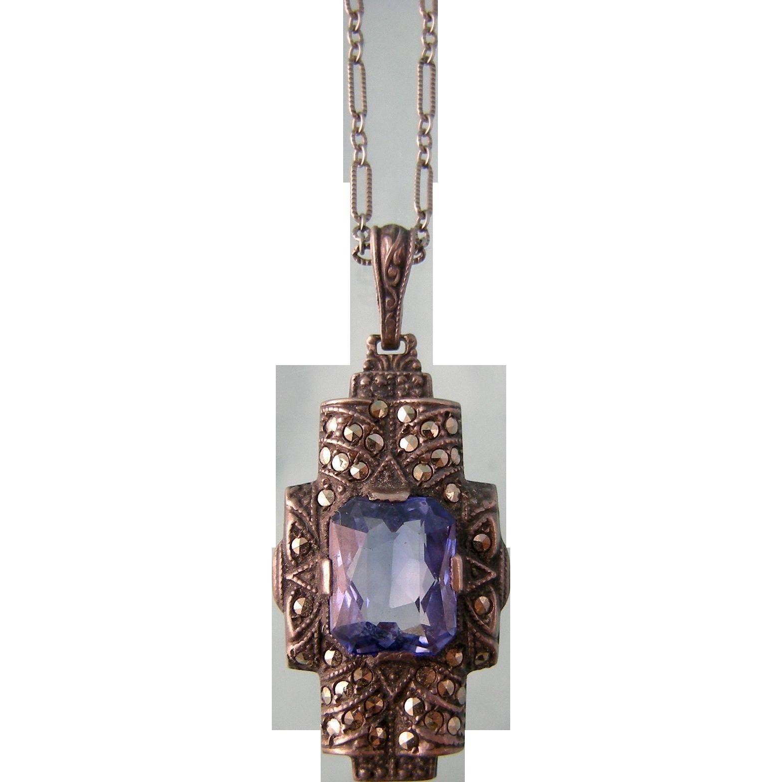 Art Deco Blue Spinel Pendant Necklace with Marcasites, Uncas, Sterling