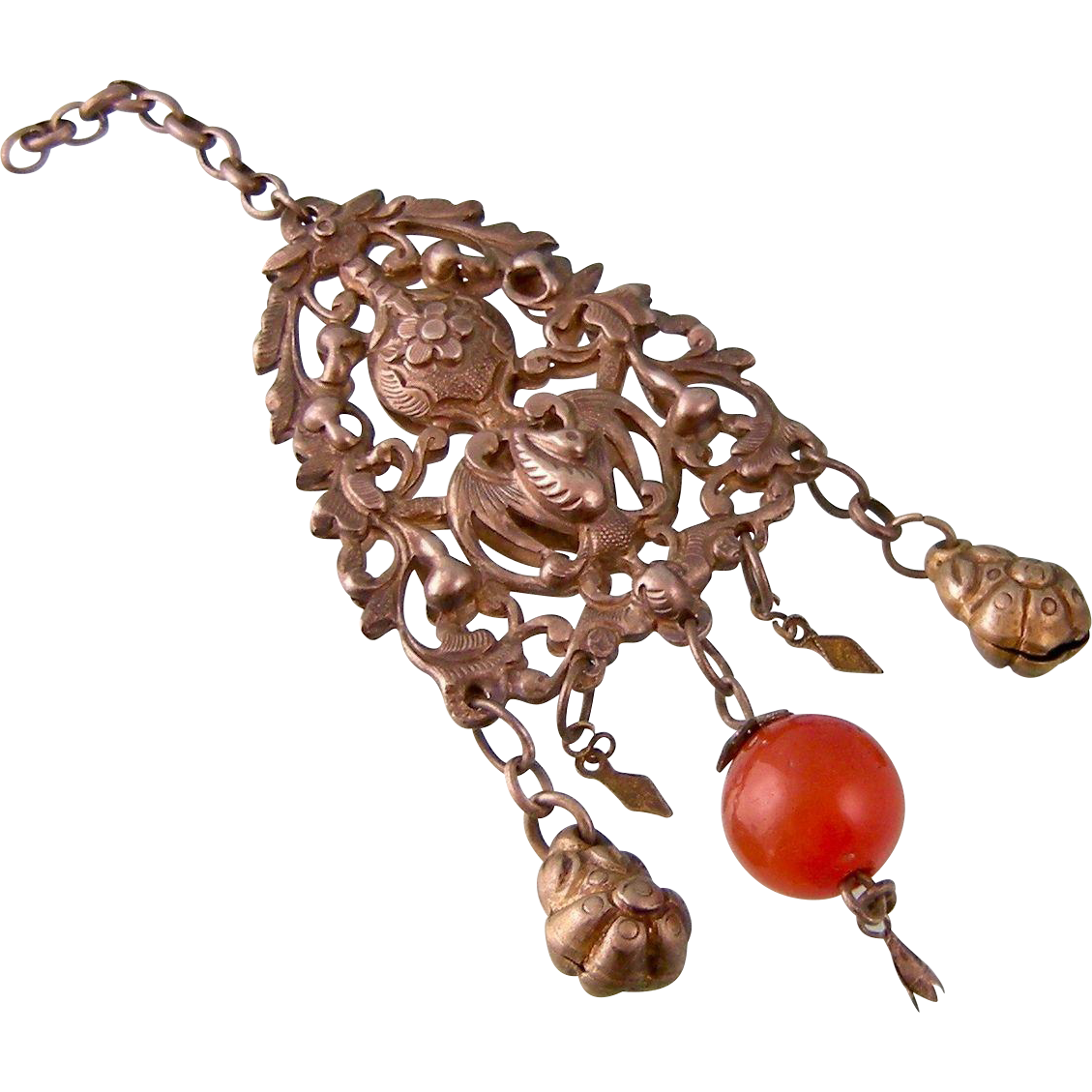 Antique Tribal Pendant with Bird and Carnelian, Afghanistan