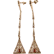 "Art Deco Marcasite Earrings with Garnet Accents, Germany, Exquisite, 3"" Long"