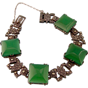 Art Deco Chrysoprase and Marcasite Bracelet in Sterling Silver